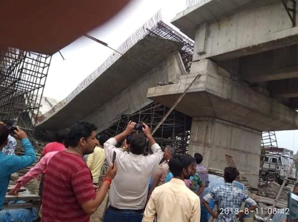FLYOVER COLLAPSE IN BASTI, ulta chasma uc- pic from twitter