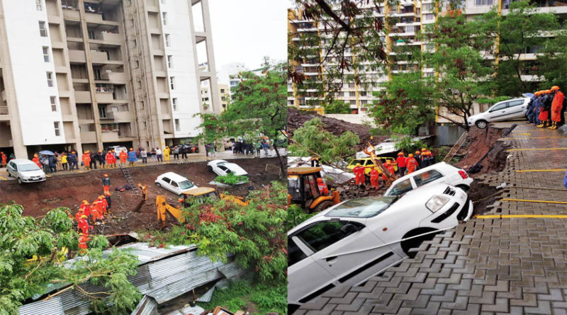 wall collapsed in pune 15 people died