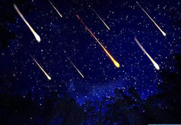 astronomical event rain of meteors in the sky