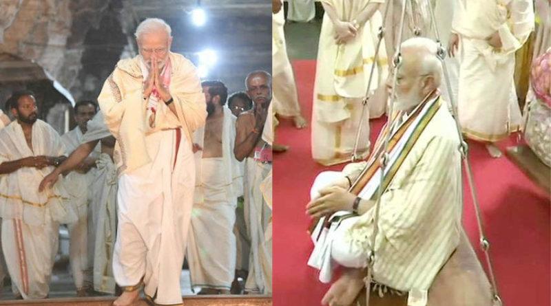 pm narendra modi prayers at sri krishna temple in guruvaypur kerala